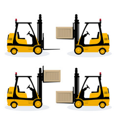 forklift truck with different cargo positions vector image