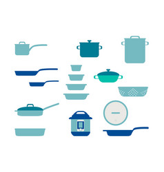 frying pan cookware set collection kitchenware vector image
