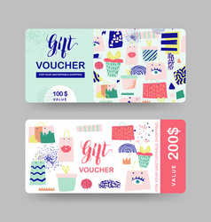 Gift voucher templates discount coupon vector