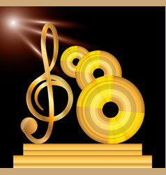 Gold musical note with cd concept music vector