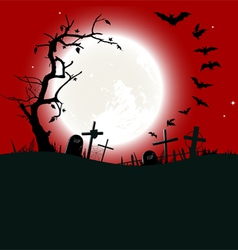Halloween background destroyed cemetery vector image