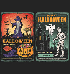 Halloween ghost mummy and wizard with pumpkin vector