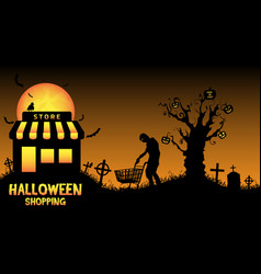 halloween store open in graveyard vector image