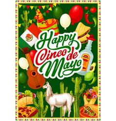 happy cinco de mayo mexican holiday party fiesta vector image