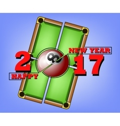 Happy new year and billiard ball vector