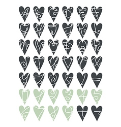 Heart letters and numbers vector image