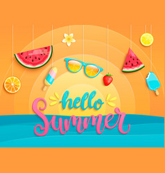 hello summer flyer with summer symbols vector image