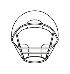 Helmet american football front view outline vector