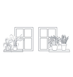 Houseplants with potted on shelf isolated icon vector
