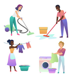 Isolated adult people cleaning up indoors vector