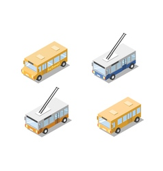 isometric set of public city transport bus vector image