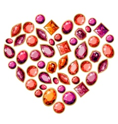 Jewellery heart made different gems vector