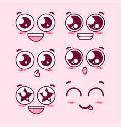 kawaii eyes expression faces vector image