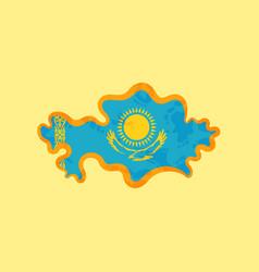 Kazakhstan - map colored with kazakhstani flag vector