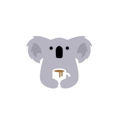 koala coffee mug logo icon vector image