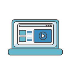 laptop content video social media icon vector image
