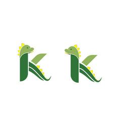 Letter k dino cute vector