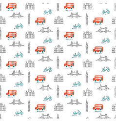 london city theme kid seamless pattern vector image