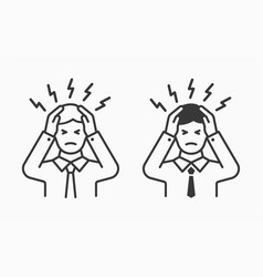 Male stress icon on white background editable vector
