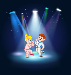 man and women hip-hop dancing at the stage vector image