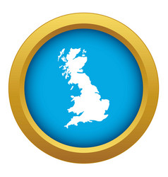 map great britain icon blue isolated vector image