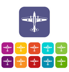 Military aircraft icons set vector