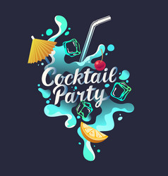 modern hand drawn lettering label for cocktail vector image