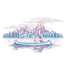 Native american in boat landscape vector