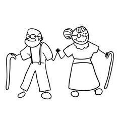 Old couple with hands together and canne vector