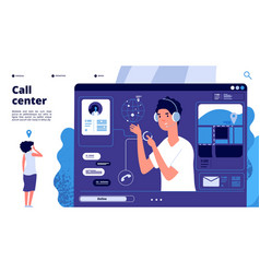 online support concept customers in call center vector image
