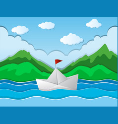 paper boat floating along river vector image