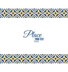 Pixel ethnic border and ornamental frame vector