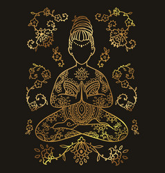 plus size yoga girl gold color ornamental vector image