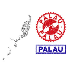 Polygonal network palau map and grunge stamps vector