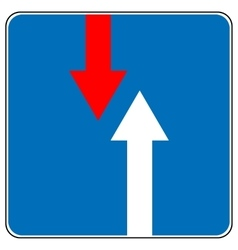 Priority over oncoming vehicles traffic sign vector