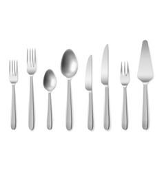 realistic cutlery 3d silverware clean closeup top vector image