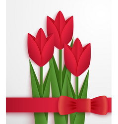 Red paper tulips card vector image