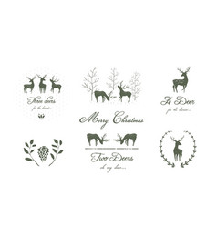 Reindeers or deers silhouettes logo design vector