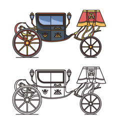 Retro carriage for wedding or vintage chariot vector
