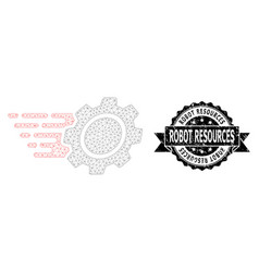 Scratched robot resources ribbon seal stamp and vector