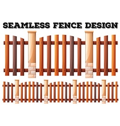 Seamless fence design with brick poles vector