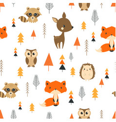 Seamless pattern cute cartoon forest vector