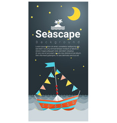 seascape background with colorful paper ship vector image