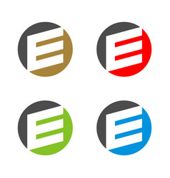 set e letter circle logo template vector image