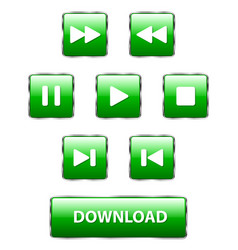 set of square green buttons vector image