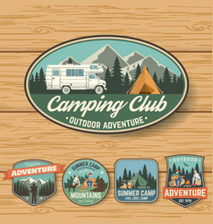 set of summer camp badges on the wood board vector image