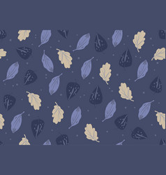 Simple autumn pattern in blue colors on dark vector