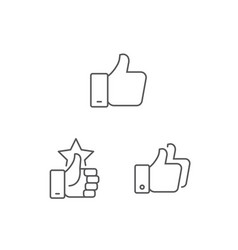 simple set thumb up icons vector image