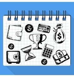 Sketch of business concept and money vector image