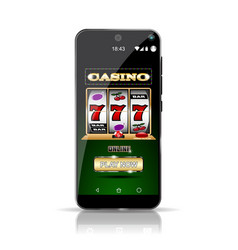 smartphone showing slot casino online highly vector image